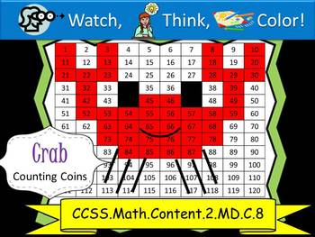 Crab Counting Coins Practice - Watch, Think, Color Mystery Pictures