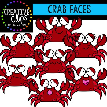 Crab Faces: Summer Clipart {Creative Clips Clipart}
