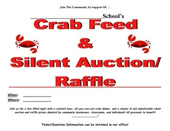 How to Have Your Own Crab Feed & Silent Auction & Raffle Fundraising Packet