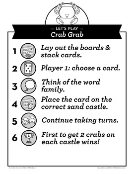 Crab Grab Mixed Vowel Word Families Phonics Game - Words Their Way Game