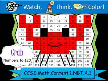 Crab Hundreds Chart to 120 - Watch, Think, Color Mystery Pictures