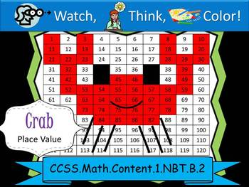 Crab Place Value - Watch, Think, Color Mystery Pictures