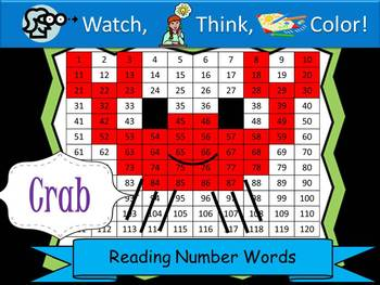 Crab Reading Number Words - Watch, Think, Color Mystery Pictures