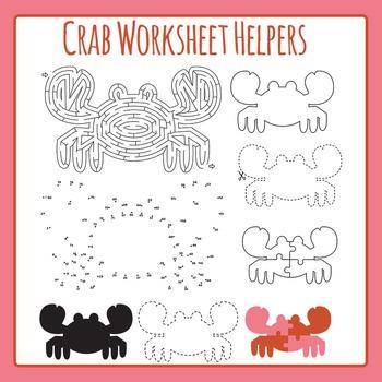 Crab Worksheet Helpers Commercial Use Clip Art Set