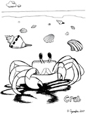 Crab on the Beach Coloring Sheet