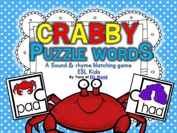 Crabby Puzzle Words {CVC word sound matching game} ESL Kids