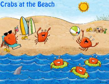 Grammar (Nouns, Verbs, Adj), Math, Writing ~ Crabs at the Beach Scene Card