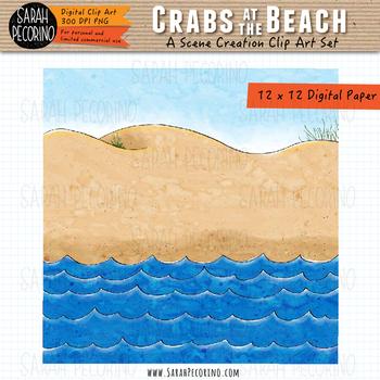Crabs on the Beach Clip Art