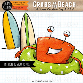 Crabs on the Beach Clip Art