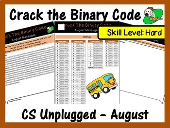 Crack the Binary Code – August Message (CS Unplugged). Skill Level: Hard