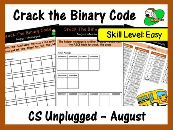 Crack the Binary Code – August Message (Skill Level – Easy)