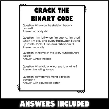 Crack the Binary Code Fall Worksheets by ThweattHearts   TpT