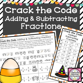 Adding and Subtracting Mixed Numbers Crack the Code Activity