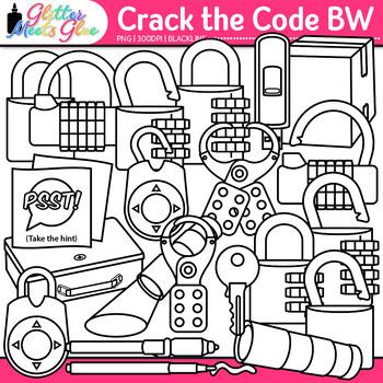 Crack the Code Clip Art | Design Classroom Escape Games, Critical Thinking | B&W