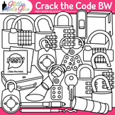 Crack the Code Clip Art: Classroom Escape Graphics B&W {Glitter Meets Glue}