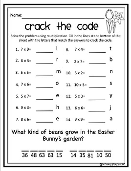 Crack the Code Math Easter Edition Multiplication
