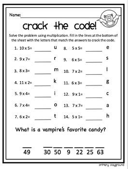 Crack the Code Math Multiplication Halloween Edition No Prep