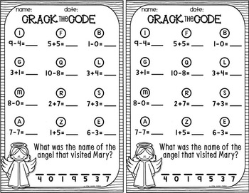 Crack the Code: Nativity {Sums and Differences to 10}