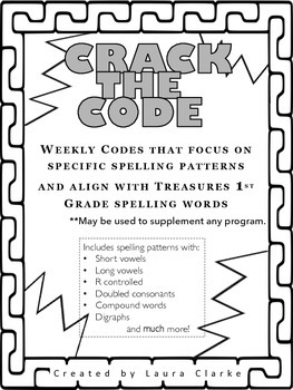Crack the Code- READY TO GO First Grade Treasures Weekly Spelling