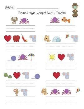 Crack the Code! Sight Word Practice Sheet