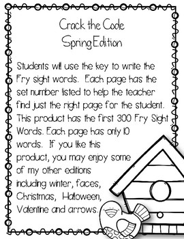 Crack the Code Spring Edition First 300 Fry Sight Words