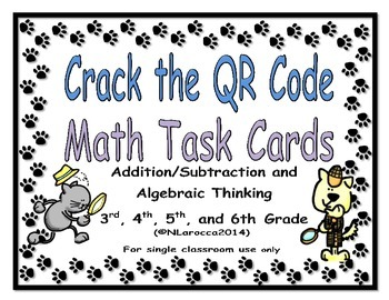 Addition and Subtraction Task Cards - Crack the QR Code