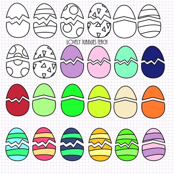 Cracked Eggs and Chicks Clip Art