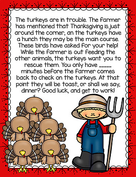 Cracking the Classroom Code™ 1st Grade Thanksgiving Subtraction Math Escape Room