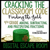 Cracking the Classroom Code® Math Digital Escape Room St. Patrick's Day Grade 4