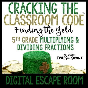 Cracking the Classroom Code® Math Digital Escape Room St. Patrick's Day Grade 5