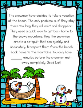 Cracking the Classroom Code® STEM Escape Room Snowman Catapult Lower Elementary