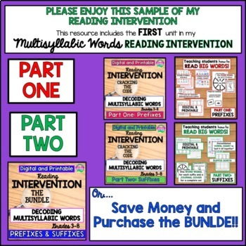 Reading Intervention-Decoding Multisyllabic Words-Prefixes-Freebie
