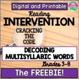 Reading Intervention-Decoding Multisyllabic Words-Prefixes-Freebie