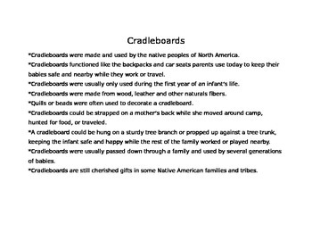 Cradleboard and Baby Doll:  An Arts and Crafts Project for Young Learners