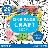 Craft Activities Pack #5 - One Page Print & Go Crafts + Wr