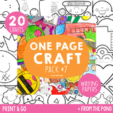Craft Activities Pack #7 - One Page Print & Go Crafts + Wr