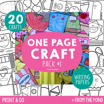 Craft Bundle {One Page Craft Pack #1 - Print & Go Crafts + Writing Papers}