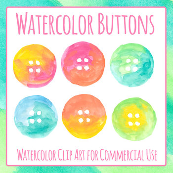Craft Buttons Handpainted Watercolour Clip Art Set for Commercial Use