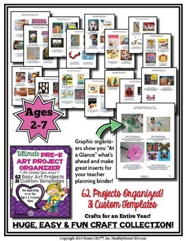 62 Arts and Craft Projects for Ages 2-7, Organized, With Templates Color and BW