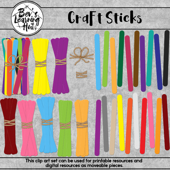 Craft Sticks Clip Art Set for printable and digital resources
