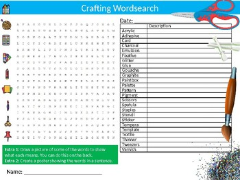 Crafting Wordsearch Sheet Starter Activity Keywords Craft Handicraft