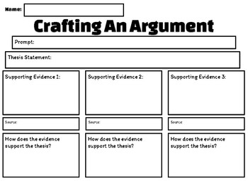 Crafting an Argument Graphic Organizer PRINTER FRIENDLY