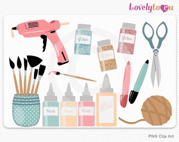 Crafting clipart set with glue gun, PNG clip art (030)