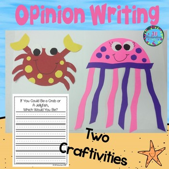 OCEAN ANIMALS Crab and Jellyfish Craft  (A Fun Spring Writing and Spring Craft!)