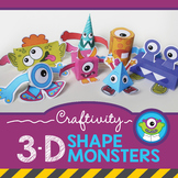 3-D Shapes Craft with Monsters (Distance Learning Math Craftivity)