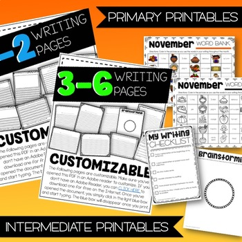 November Craftivity With Writing - 7 PRINT AND GO CRAFTS!