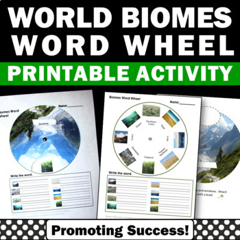 Biomes of the World Word Wheels, Earth Science Interactive Notebook Activities