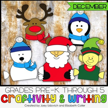 December Craftivity With Writing - 5 PRINT AND GO CRAFTS!