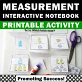 Measurement Interactive Notebook, Cups Pints Quarts Gallons Measuring Volume