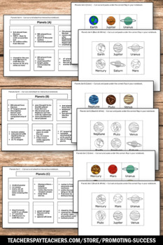 Planets Interactive Notebook, Solar System Project, Planets Cut and Paste